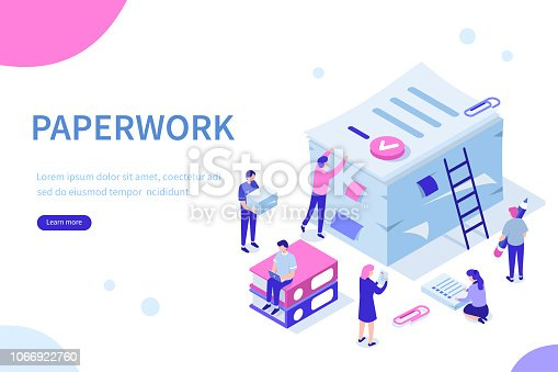 People do paperwork concept design. Can use for web banner, infographics, hero images. Flat isometric vector illustration isolated on white background.