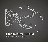 Papua New Guinea dark vector contour triangle perspective map