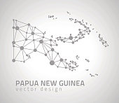 Papua New Guinea grey dot outline vector triangle map