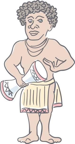 papua-neu-guinea mann. nationalen charakter der aborigines ozeaniens. lustige karikatur. editierbare linienskizze. lager-vektor-illustration. - lombok stock-grafiken, -clipart, -cartoons und -symbole