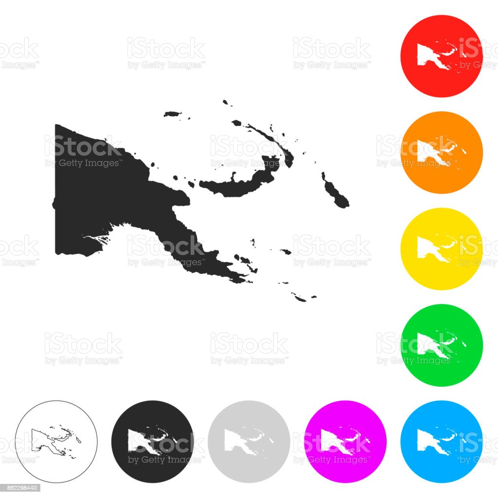 Papua New Guinea map - Flat icons on different color buttons vector art illustration