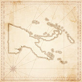 Map of Papua New Guinea in vintage style. Beautiful illustration of antique map on an old textured paper of sepia color. Old realistic parchment with a compass rose, lines indicating the different directions (North, South, East, West) and a frame used as scale of measurement. Vector Illustration (EPS10, well layered and grouped). Easy to edit, manipulate, resize or colorize. Please do not hesitate to contact me if you have any questions, or need to customise the illustration. http://www.istockphoto.com/portfolio/bgblue