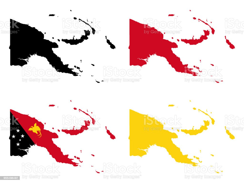 Papua New Guinea map vector art illustration