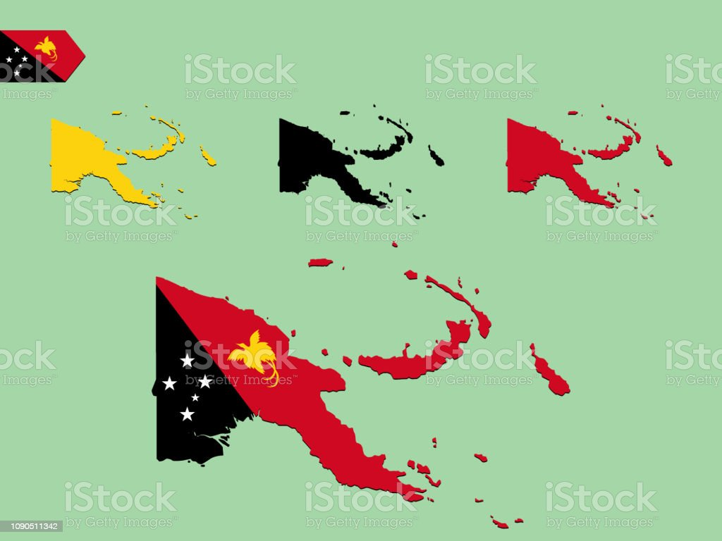 Papua New Guinea Map With Flag Stock Illustration - Download ...