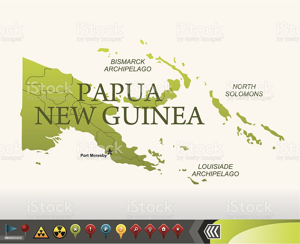 Papua New Guinea map with navigation icons royalty-free stock vector art