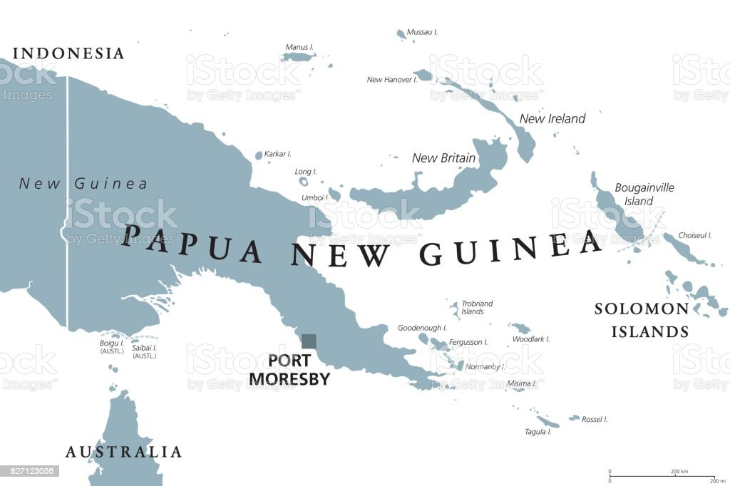 Papua New Guinea Political Map Stock Vector Art More Images Of - Papua new guinea map