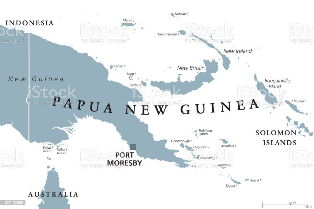 Papua Yeni Gine siyasi harita vektör sanat illüstrasyonu