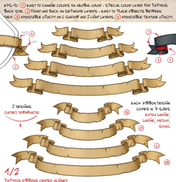 papyrus ribbons curved downwards – two designs by four sizes - pirates stock illustrations, clip art, cartoons, & icons