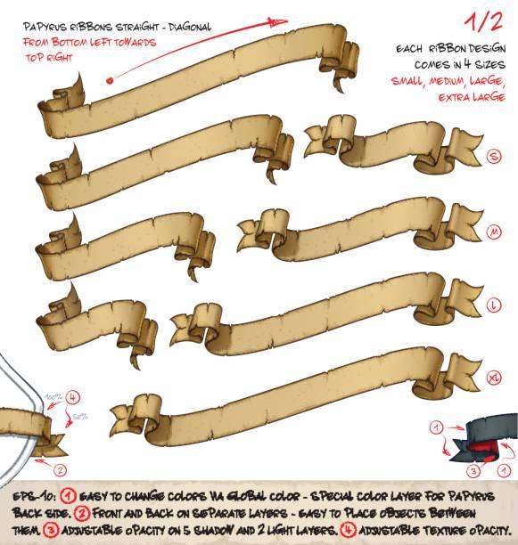 papyrus bänder diagonal unten nach oben rechts links – zwei entwürfe von vier größen - piratenschrift stock-grafiken, -clipart, -cartoons und -symbole