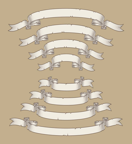 Papyrus Scroll Curved Center Uwards n Downwards Four Sizes 3 Vector illustration of age old papyrus or parchment ribbons. Four sizes Set neatly layered and labeled with Global Colors for variations and easy editing declaration of independence stock illustrations