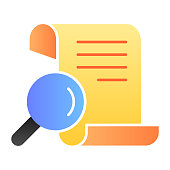 Papyrus search flat icon. Manuscript and magnifier vector illustration isolated on white. Search script gradient style design, designed for web and app. Eps 10