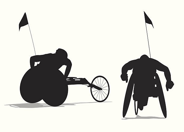 para cycling vector silhouette - wheelchair sports stock illustrations, clip art, cartoons, & icons