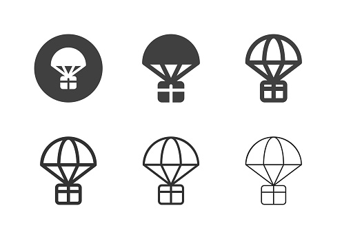 Parachute Airdrop Box Icons Multi Series Vector EPS File.
