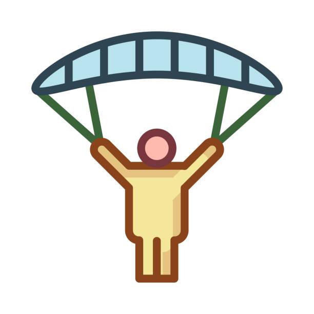 ilustrações, clipart, desenhos animados e ícones de férias de voar de para-quedas - ícones de design planar