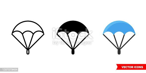 Parachute icon of 3 types color, black and white, outline. Isolated vector sign symbol.