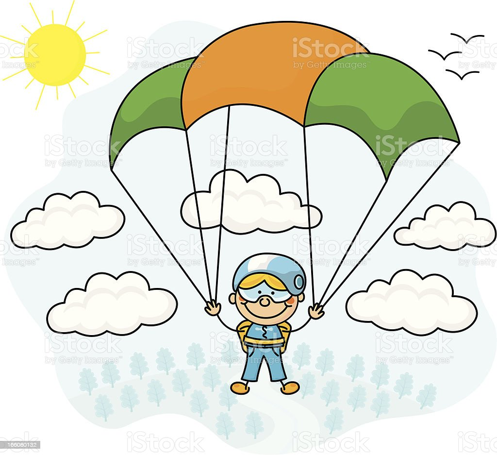 Parachute Jumper Kids vector art illustration