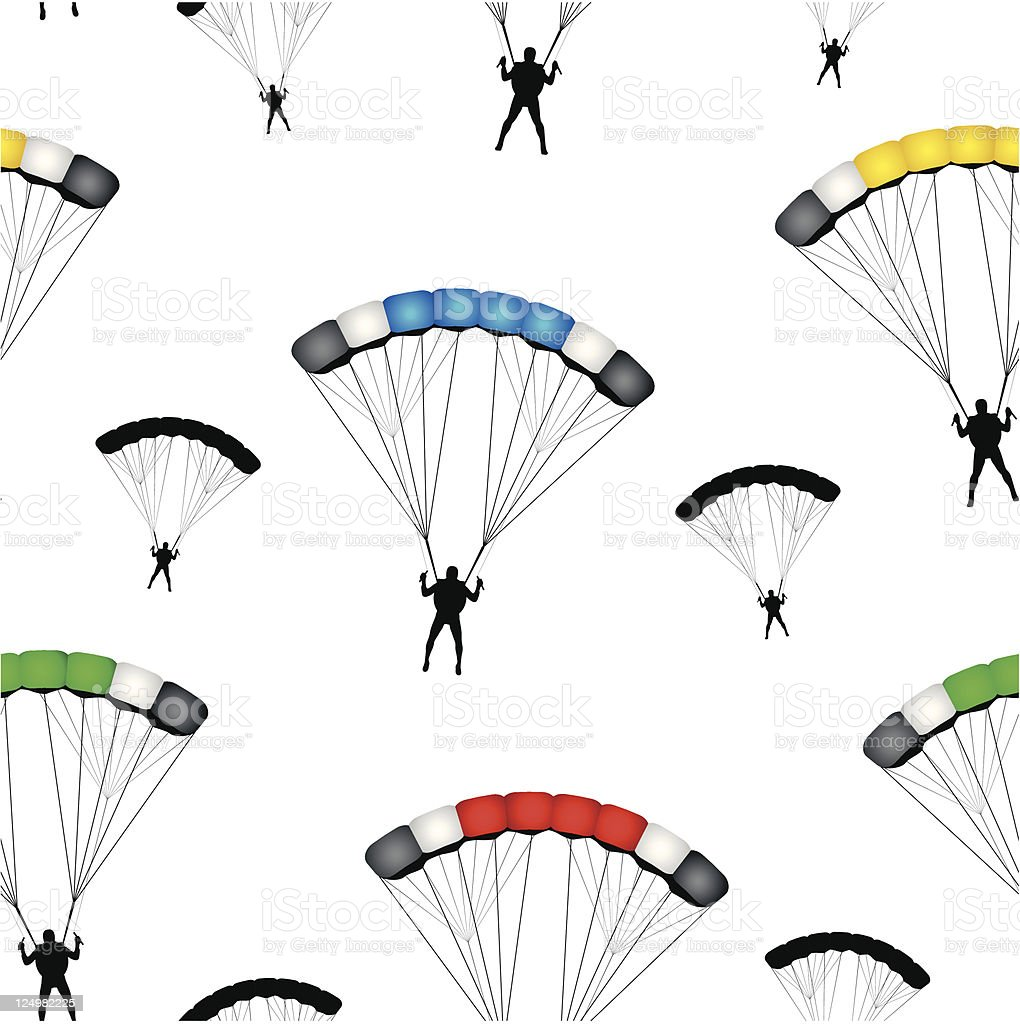 Parachute jumpers seamless vector wallpaper vector art illustration