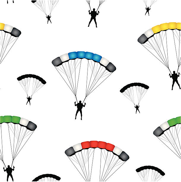 Parachute jumpers seamless vector wallpaper vector art illustration