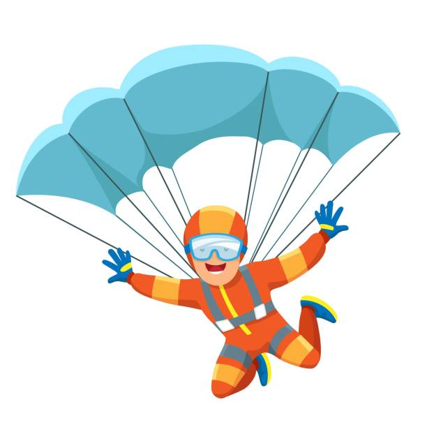 Parachute skydiver icon Parachute skydiver. Caucasian sky diving man vector illustration, parachuter or parachutist, flying man activities parachuting stock illustrations