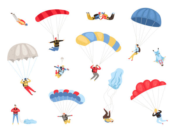 Parachute skydivers set Parachute skydivers. Paraglide and parachute jumping characters on white, paragliders and parachutists vector illustration, skydiver hobby and sport activities parachuting stock illustrations