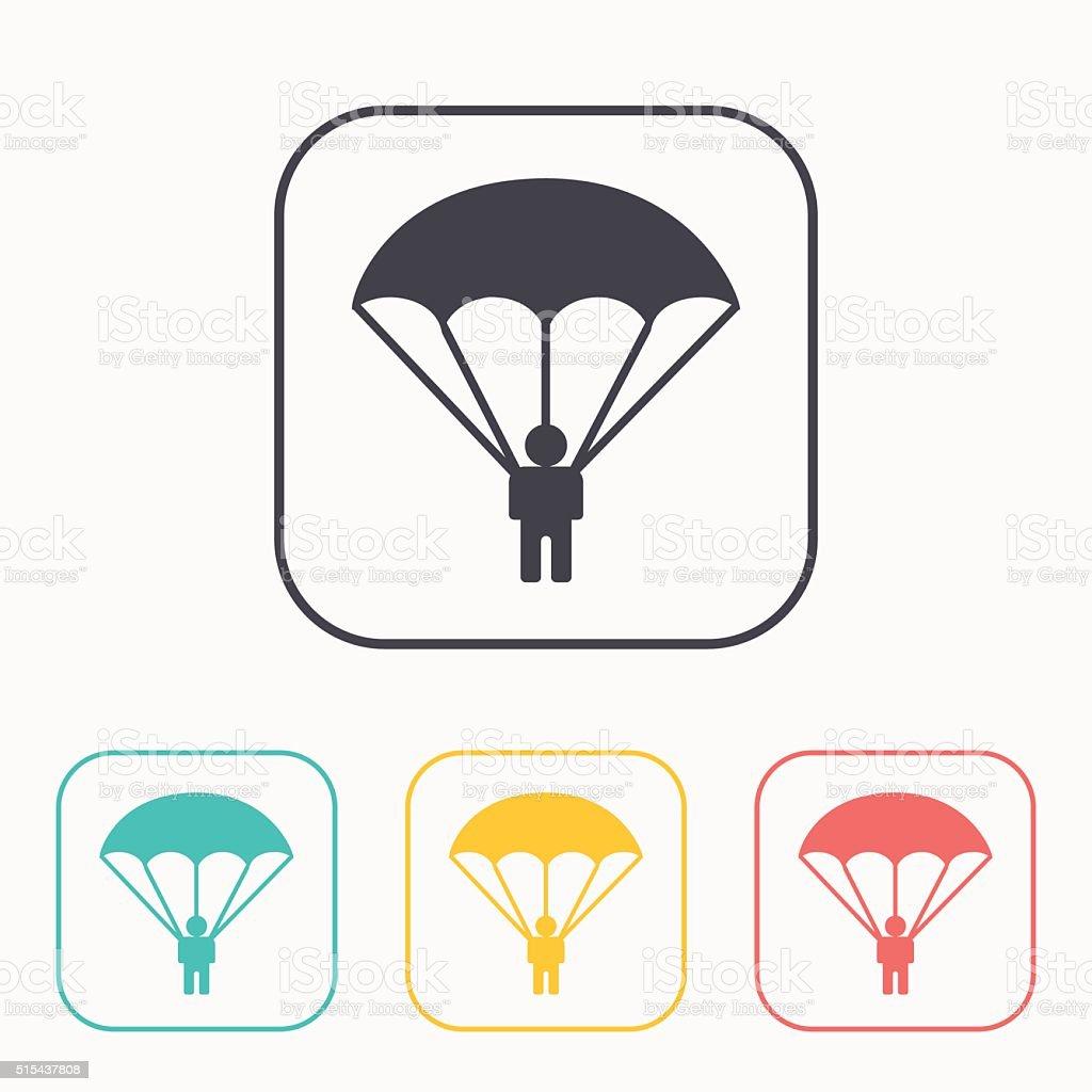 Parachute sport color icon set vector art illustration