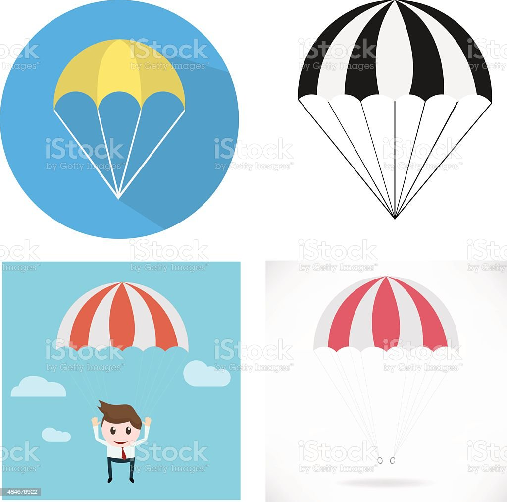 Parachute vector art illustration