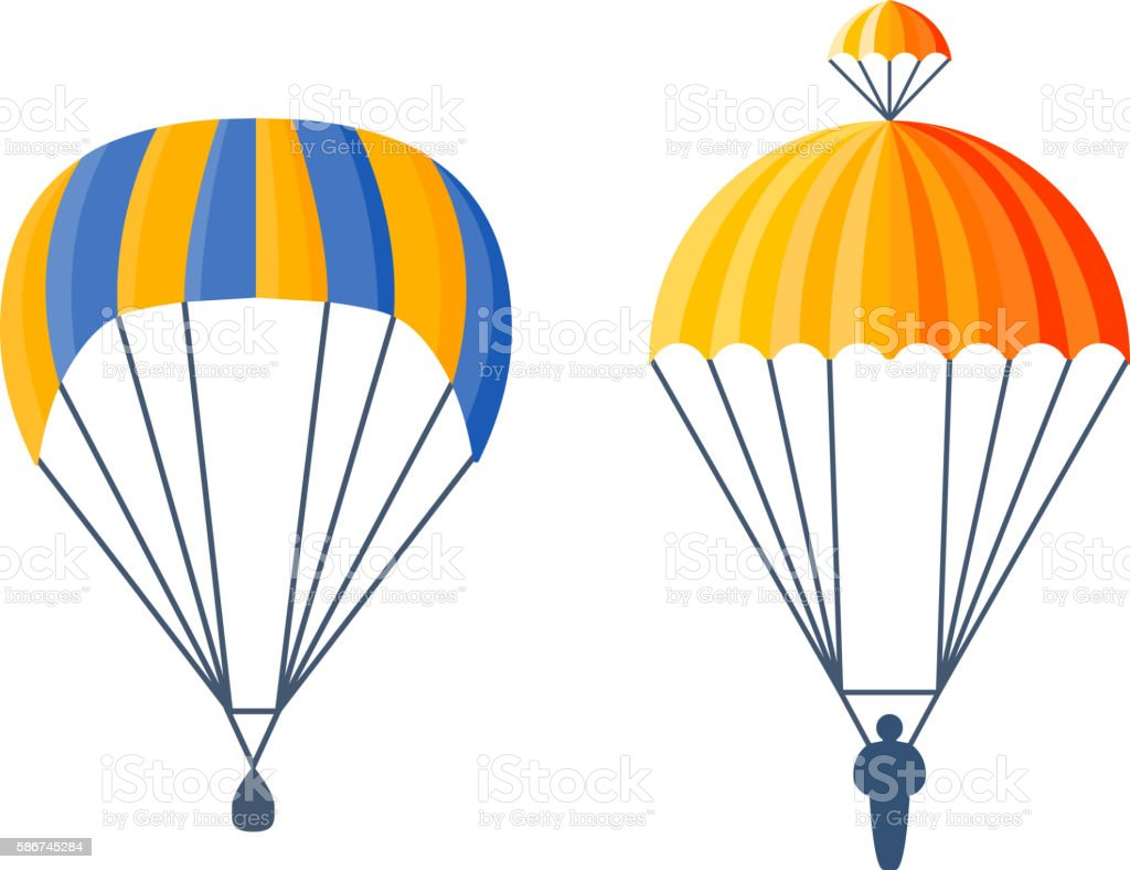 parachute vector illustration fly stock vector art more images of rh istockphoto com clipart parachute gratuit parachute clipart free