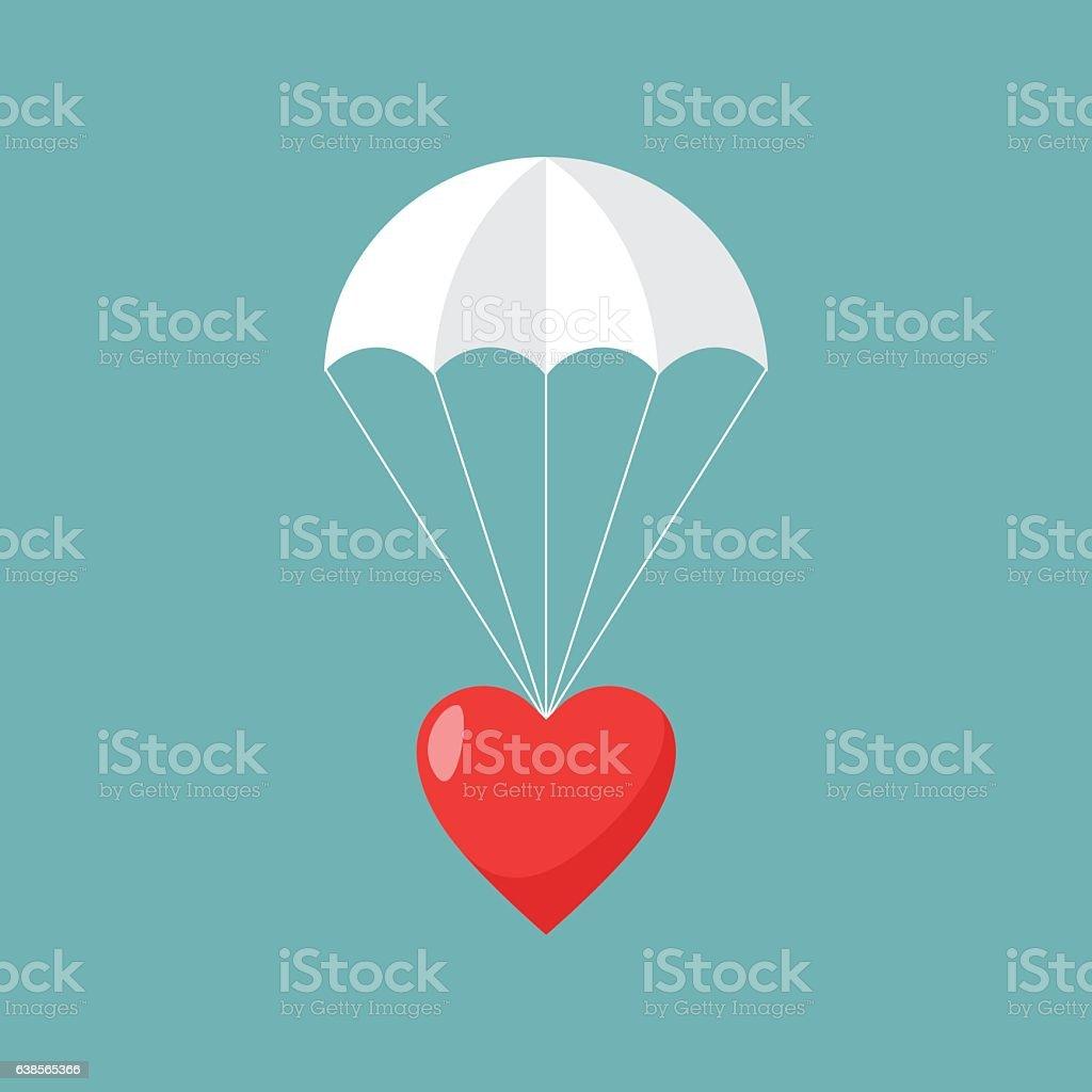 Parachute with heart, Concept of sending love. vector art illustration