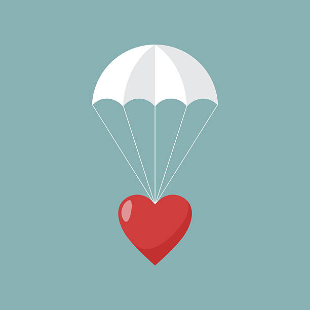 Parachute with heart, Concept of sending love. Parachute with heart, Concept of sending love. Vector illustration. parachuting stock illustrations