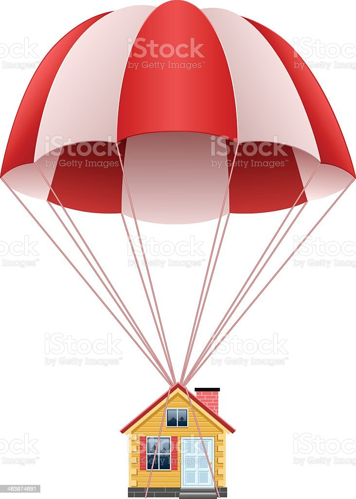 Parachute with house vector art illustration