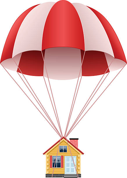 Parachute with house Parachute with house, EPS file version 10. parachuting stock illustrations