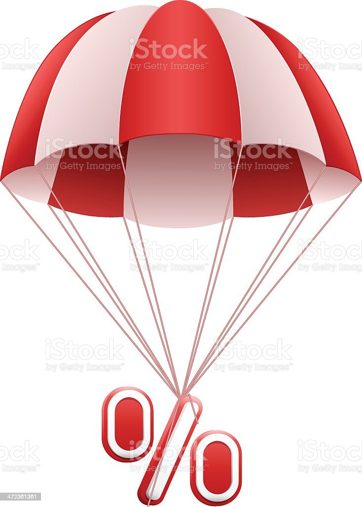 Parachute with Percentage Sign vector art illustration