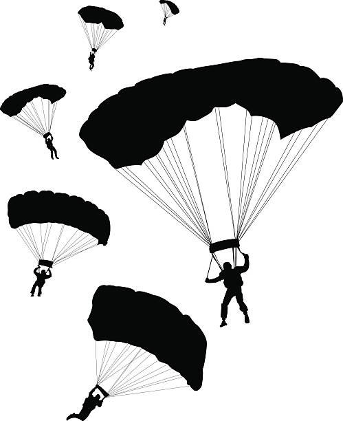 Parachuters ~ Vector  parachuting stock illustrations
