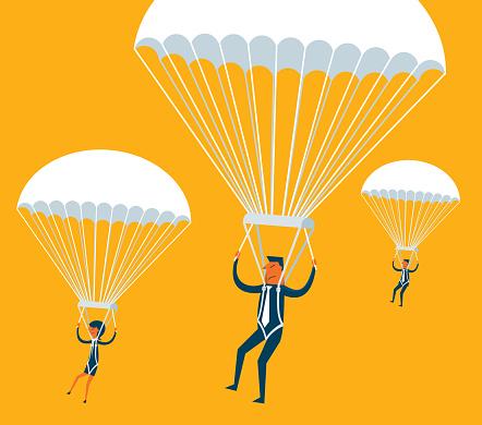 Parachuting - Business people