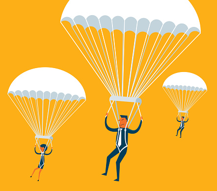 Parachuting Business people - New Business Concept stock illustration