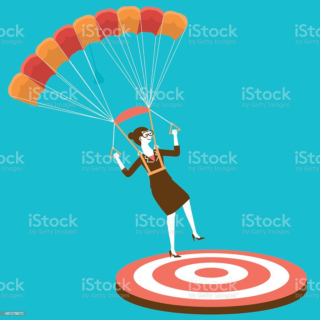 Parachuting Businesswoman On Target | New Business Concept vector art illustration