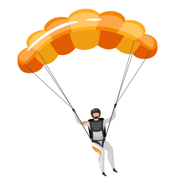 Parachuting flat vector illustration. Skydiving, paragliding experience. Extreme sports. Active lifestyle. Outdoor activities. Sportsman with parachute isolated cartoon character on white background Parachuting flat vector illustration. Skydiving, paragliding experience. Extreme sports. Active lifestyle. Outdoor activities. Sportsman with parachute isolated cartoon character on white background paragliding stock illustrations