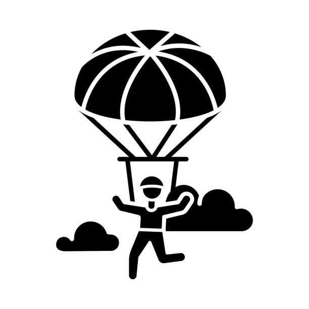 ilustrações, clipart, desenhos animados e ícones de ícone de glifo de pára-quedas. parapente, atividade de paraquedinagem. esporte extremo aéreo. paraquedismo, recreação de asa delta. vôos no céu, saltos com pára-quedas. símbolo da silhueta. ilustração isolada vetorial - ícones de design planar