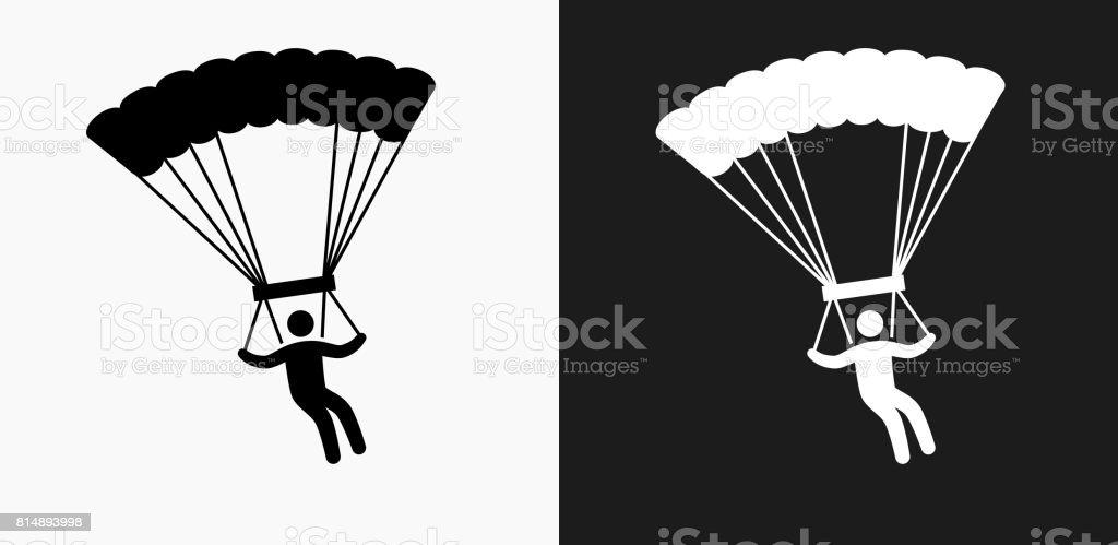 Icône de parachutisme sur noir et blanc Vector Backgrounds - Illustration vectorielle