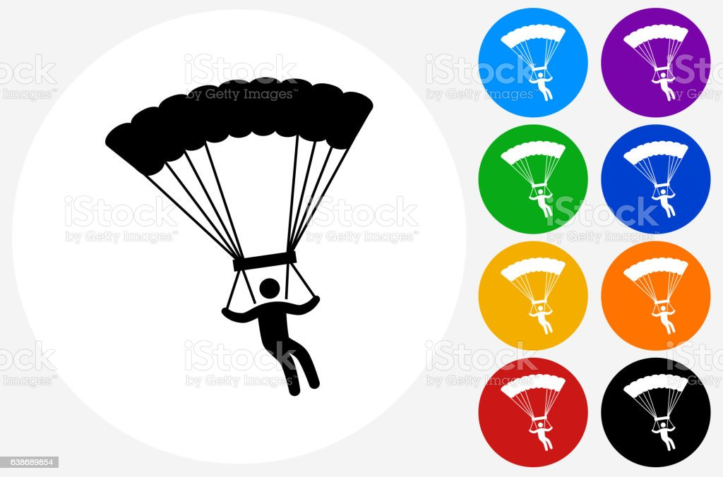 Parachuting Icon on Flat Color Circle Buttons vector art illustration