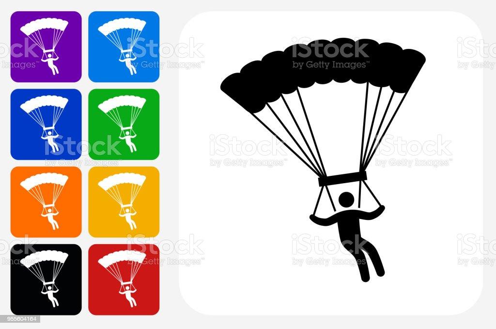 Ilustración de Grupo De Botones De Icono Cuadrado Paracaidismo y más ...