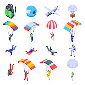 Parachuting icons set. Isometric set of parachuting vector icons for web design isolated on white background