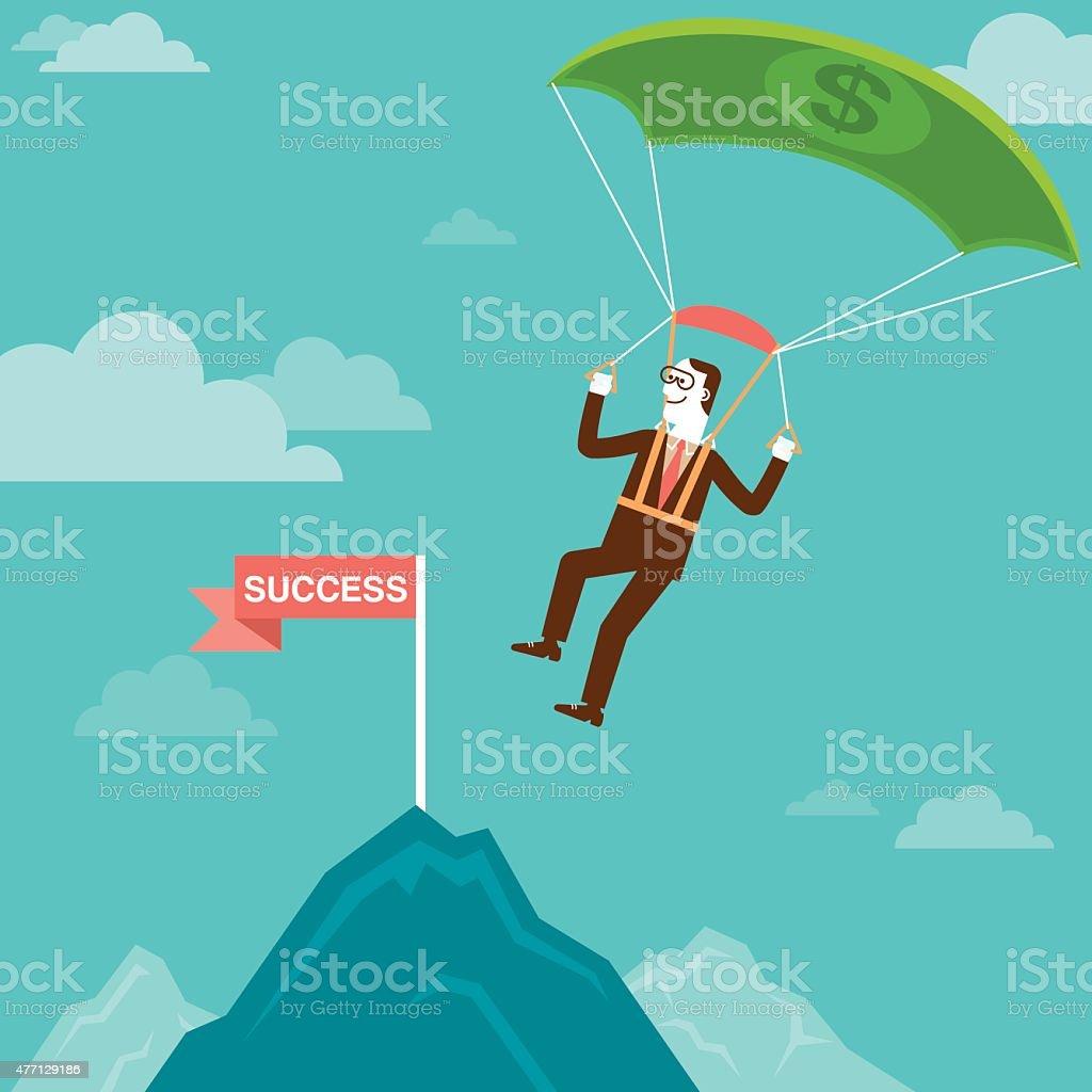 Parachuting Investor Landing on Mountain Peak   New Business Concept vector art illustration
