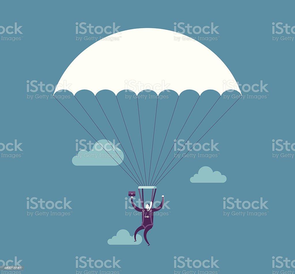 Parachuting vector art illustration