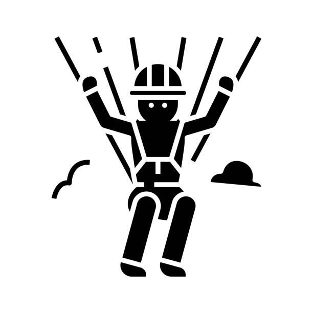 ilustrações, clipart, desenhos animados e ícones de ícone negro paraquedista, ilustração conceitual, símbolo plano vetorial, sinal de glifo - ícones de design planar