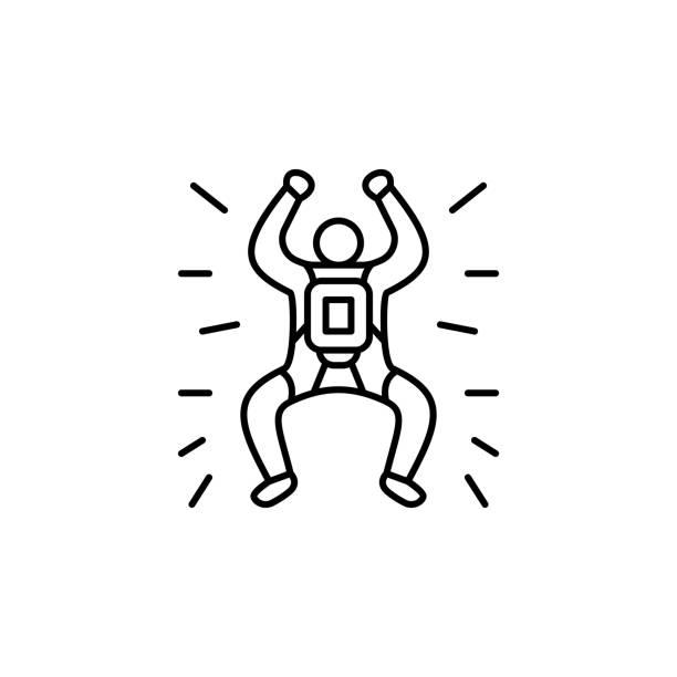 ilustrações, clipart, desenhos animados e ícones de ícone de parachutist. linha fina simples, vetor do esboço de ícones da aventura para o ui e o ux, o web site ou a aplicação móvel - ícones de design planar