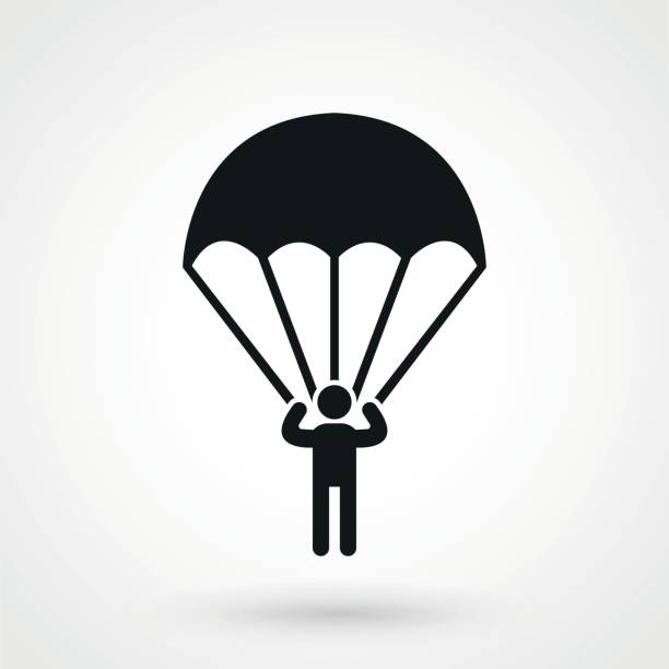 Parachutist icon. Parachutist icon. parachuting stock illustrations