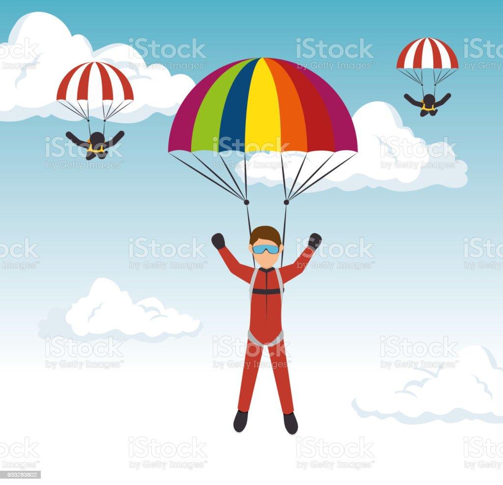 parachutist man extreme sport vector illustration eps 10
