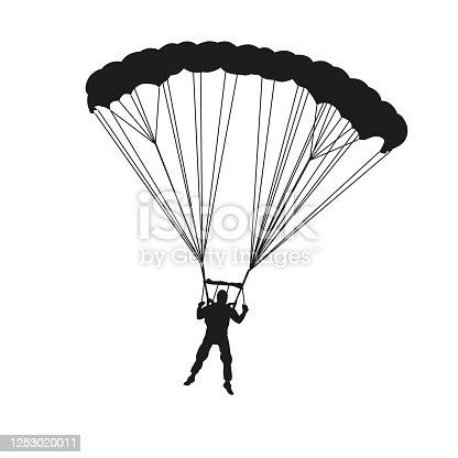 Parachutist. Vector silhouette