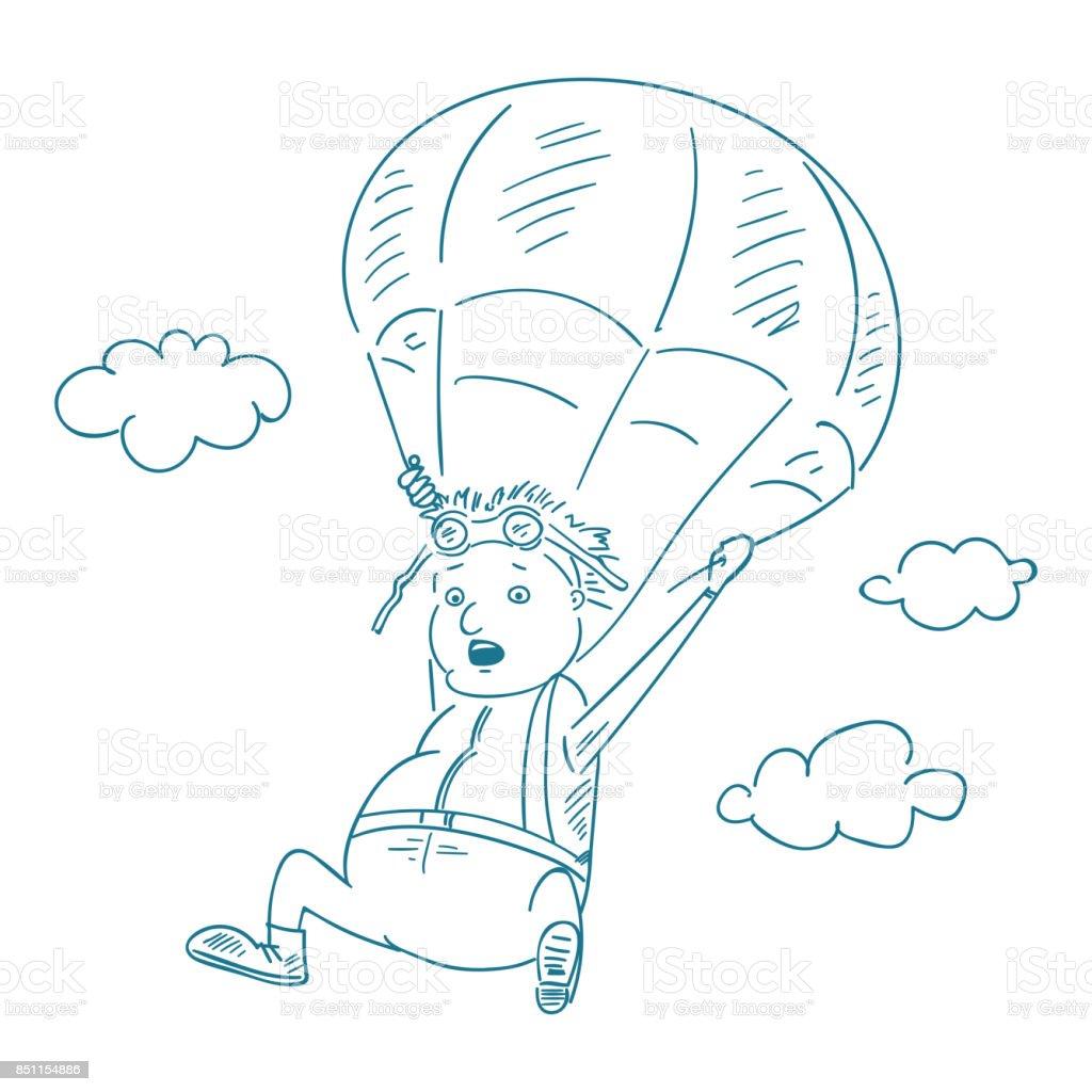 Paraşütçü Stil Kroki Illüstrasyon Vektör Stok Vektör Sanatı